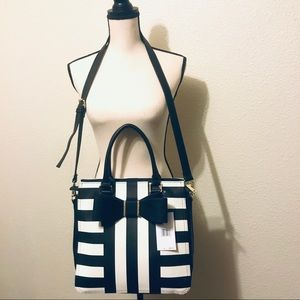 New! Betsey Johnson Floral Black and White Tote